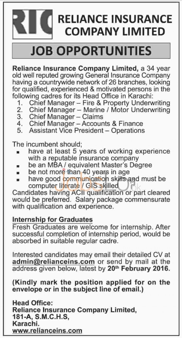 Reliance Insurance Company Limited Jobs 2016 for Chief Manager in Karachi