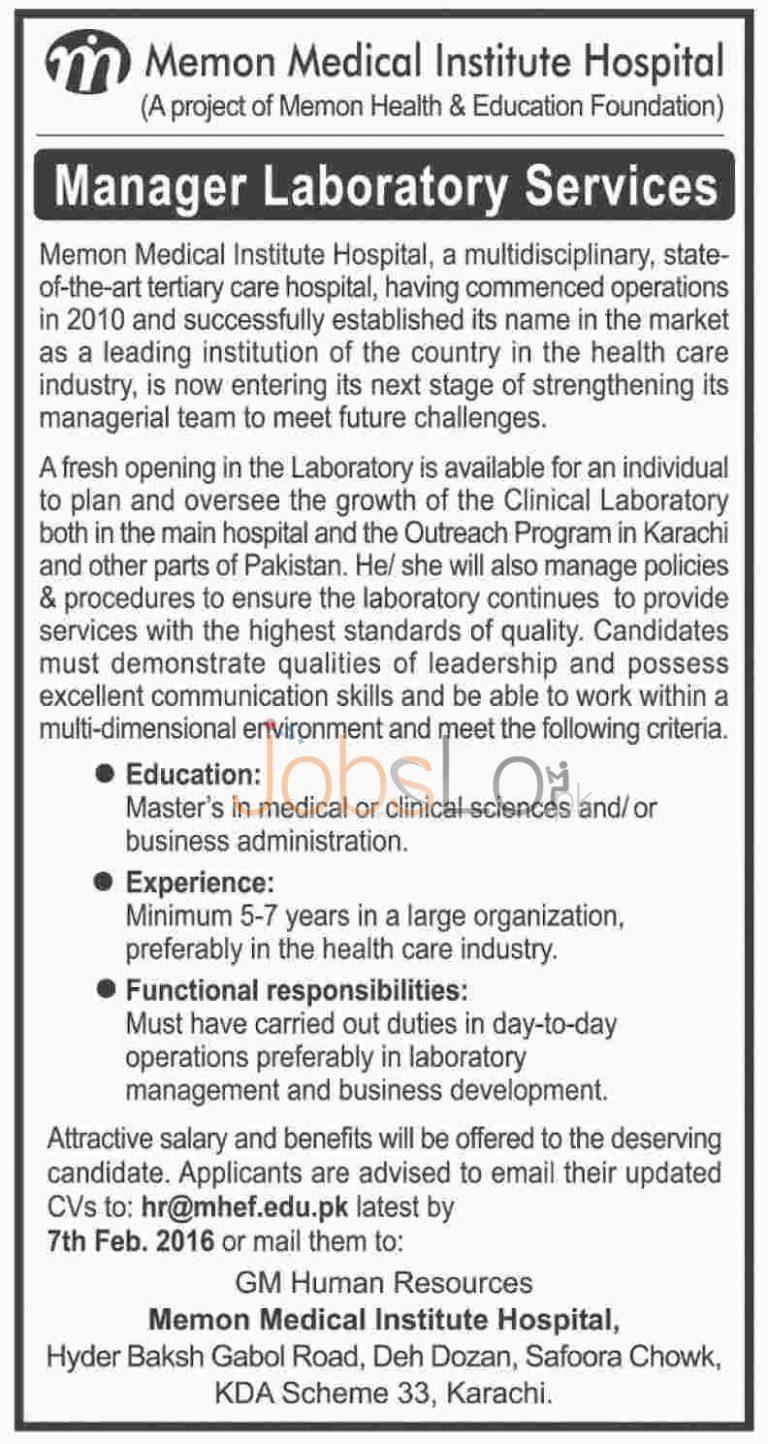 Memon Medical Institute Hospital Jobs in Karachi 2016 for Manager Laboratory Service