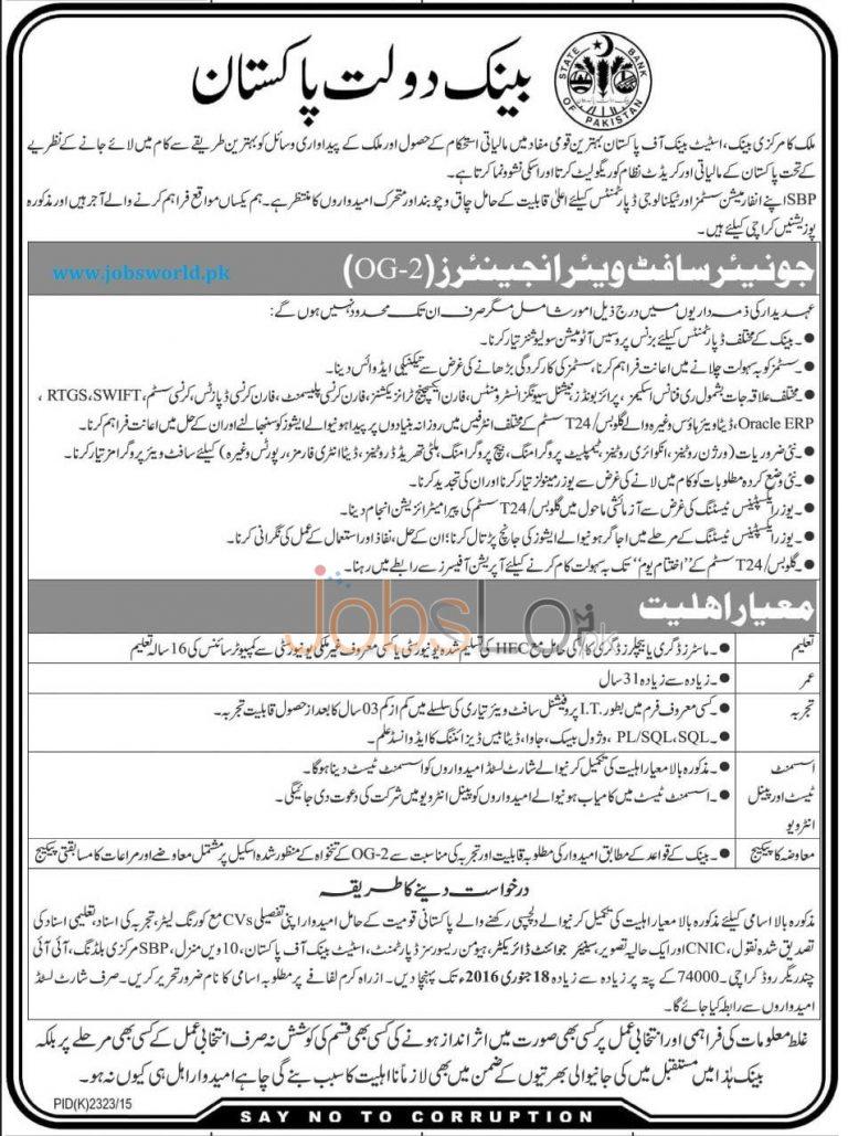 State Bank of Pakistan SBP OG 2 Jobs January 2016 Eligibility Criteria
