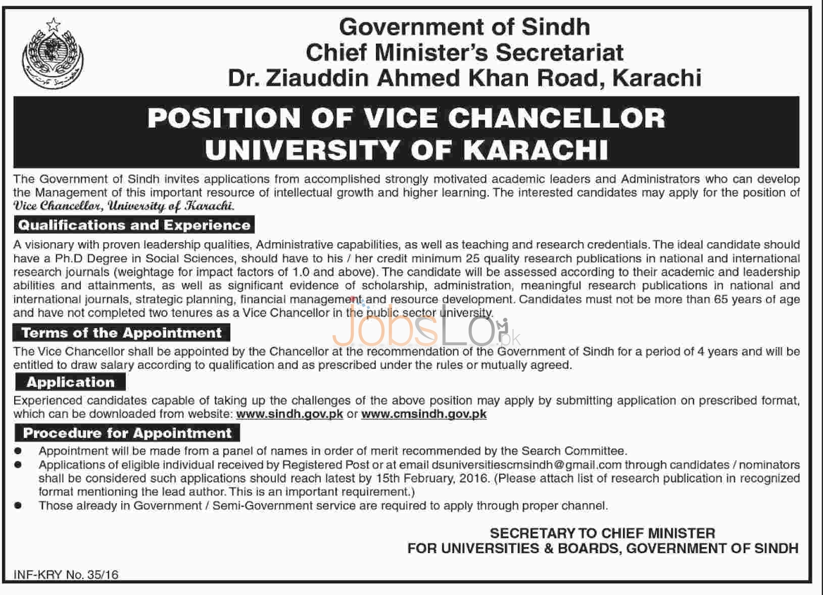 Situations Vacant for Vice Chancellor in University of Karachi 27th Jan 2016