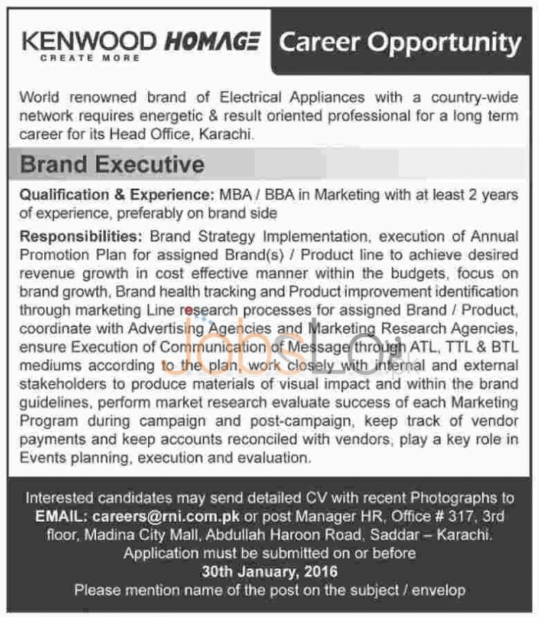 Kenwood Homage Electric Appliances Brand Jobs in Karachi for Brand Executive 2016