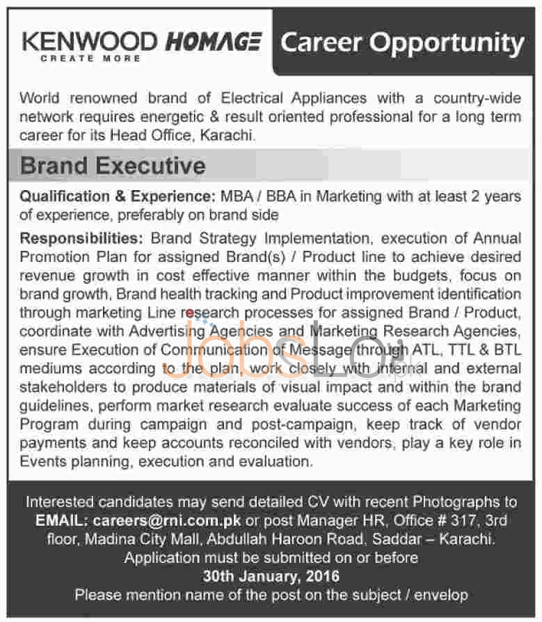 Kenwood Homage Electric Appliances Brand Karachi 2016 Jobs