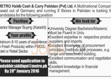 Metro Habib Cash & Carry Pvt Ltd Company Jobs In Karachi 2016
