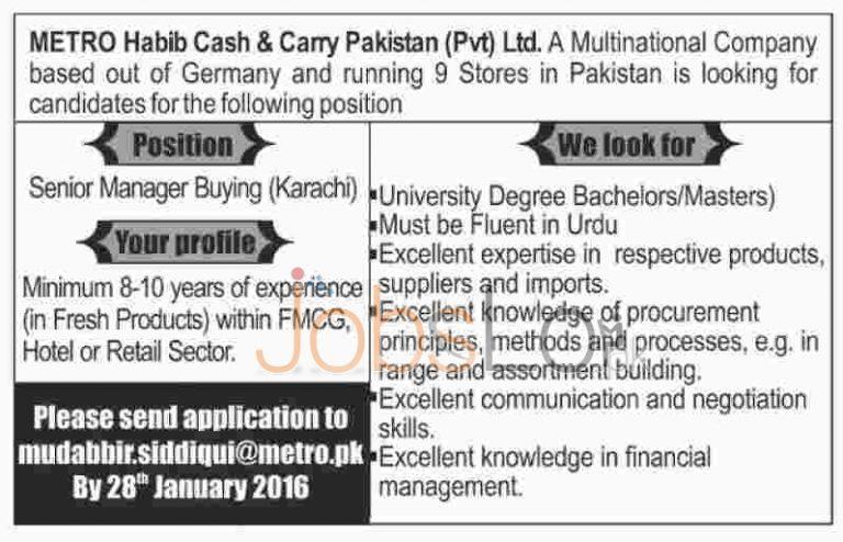 Metro Habib Cash & Carry Pvt Ltd Company Jobs In Karachi 2016