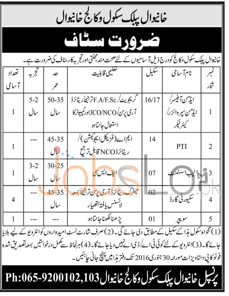 Khanewal School & College Jobs 2016