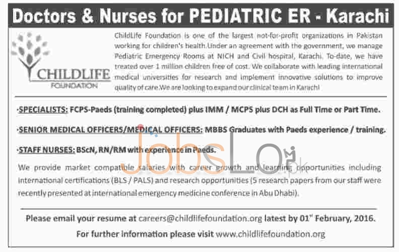 Situations Vacant in Child Life Foundation 2016 Karachi