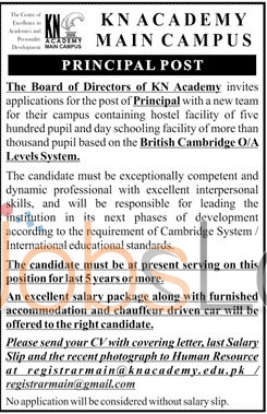 Recruitment Offer in KN Academy Main Campus Jobs for Principal 2016