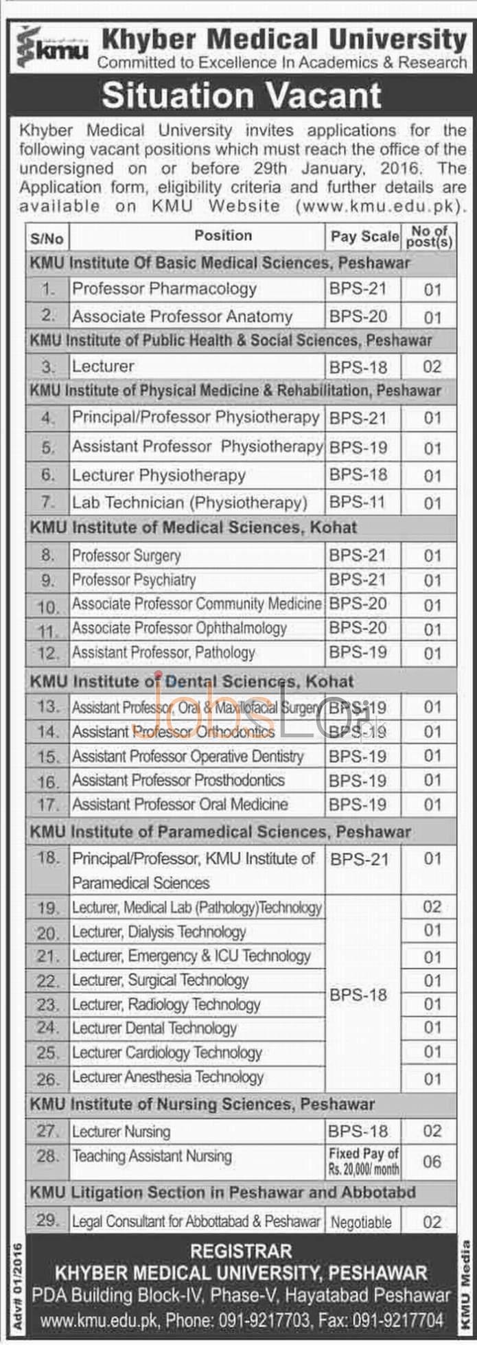 Khyber Medical University KMU Peshawar Jobs January 2016 Application Form