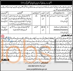 Fisheries Department Jobs in Lahore for Statistical Assistant 24th January 2016