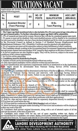 Lahore Developmental Authority Jobs for Assistant Director 2016