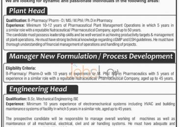 Herbal/ Nutraceutical Company Jobs 2016 in Lahore for Plant Head