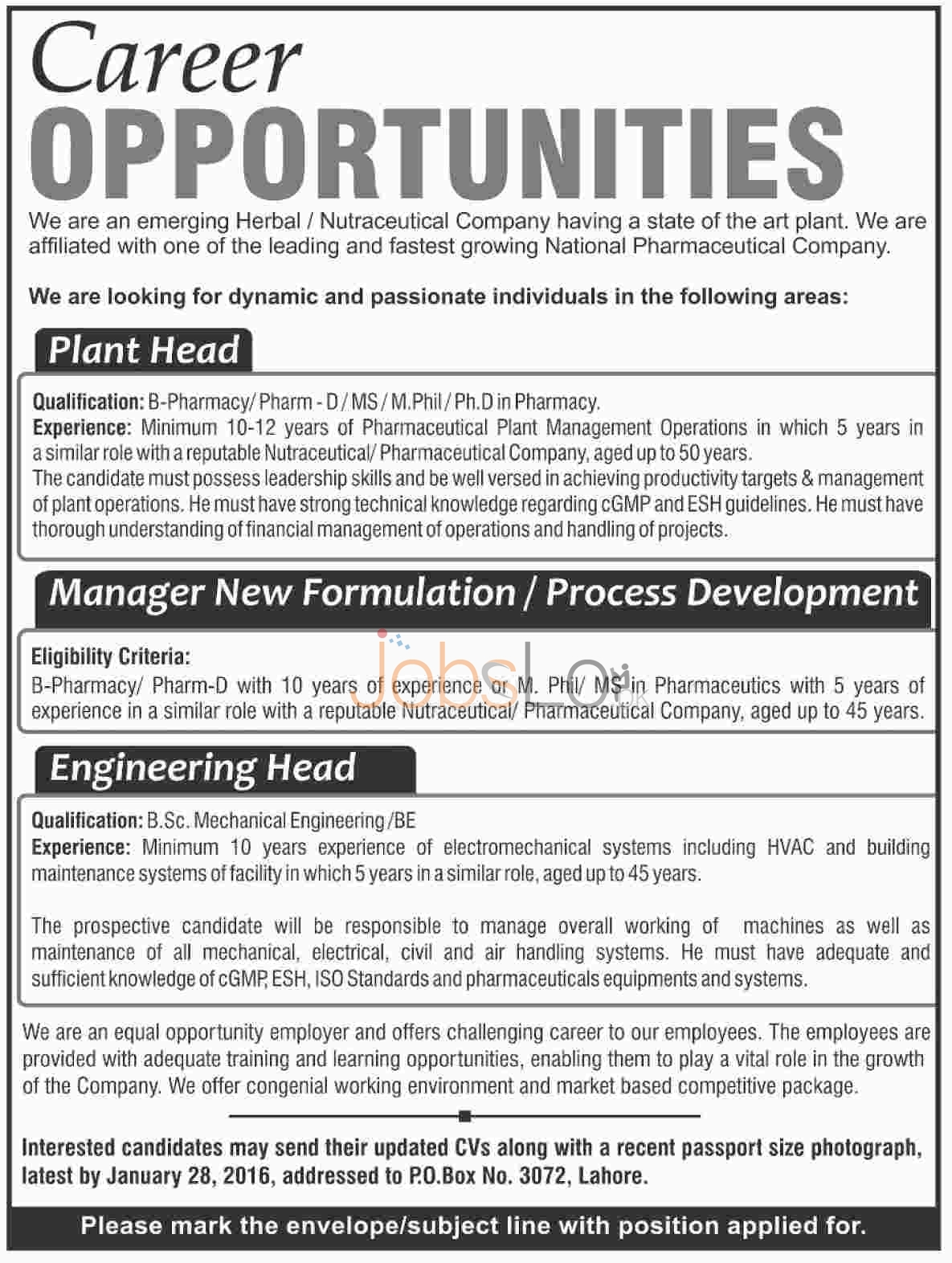 Herbal/ Nutraceutical Company 2016 Jobs in Lahore