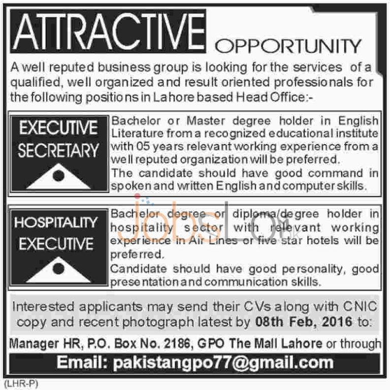 Hospitality Executive Job in Lahore 2016 Latest Advertisement