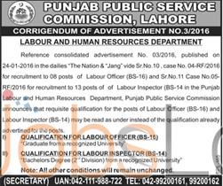 Punjab Public Service Commission Lahore 2016 Jobs