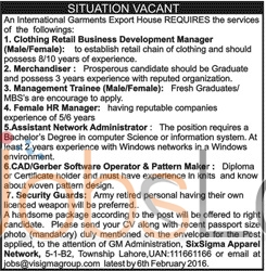 International Garment Export House Jobs in Lahore 2016 for Manager
