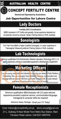 Recruitment Offers in Lahore Concept of Fertility Center 2016