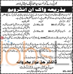 Govt Syed Mitha Teaching Hospital Lahore 2016 Jobs in Lahore