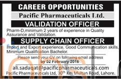 Recruitment Offers in Pacific Pharmaceuticals Limited 17th January 2016