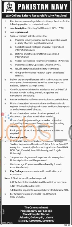 Pakistan Navy War College Jobs in Lahore 23rd January 2016