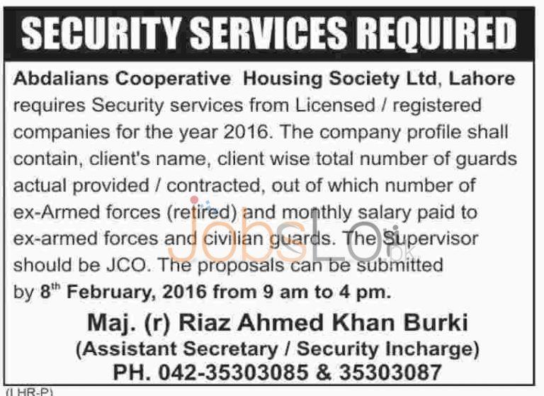 Abdali Cooperative Housing Society Ltd Jobs in Lahore 30 January 2016