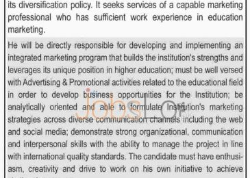 University of Culture & Arts Jobs in Lahore 2016 for Marketing Manager
