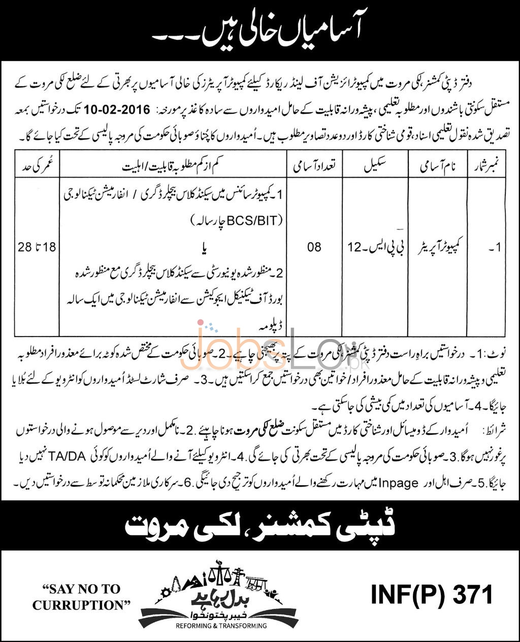 Office of the Deputy Commissioner Jobs in Lakki Marwat 23rd January 2016
