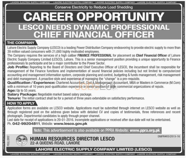 Jobs in LESCO 2016 Lahore Electric Supply Company