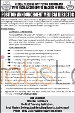 Medical Director Jobs in Ayub Medical College 2016