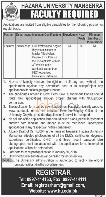 Hazara University Jobs in Mansehra 2016 for Lecturer Latest Advertisement