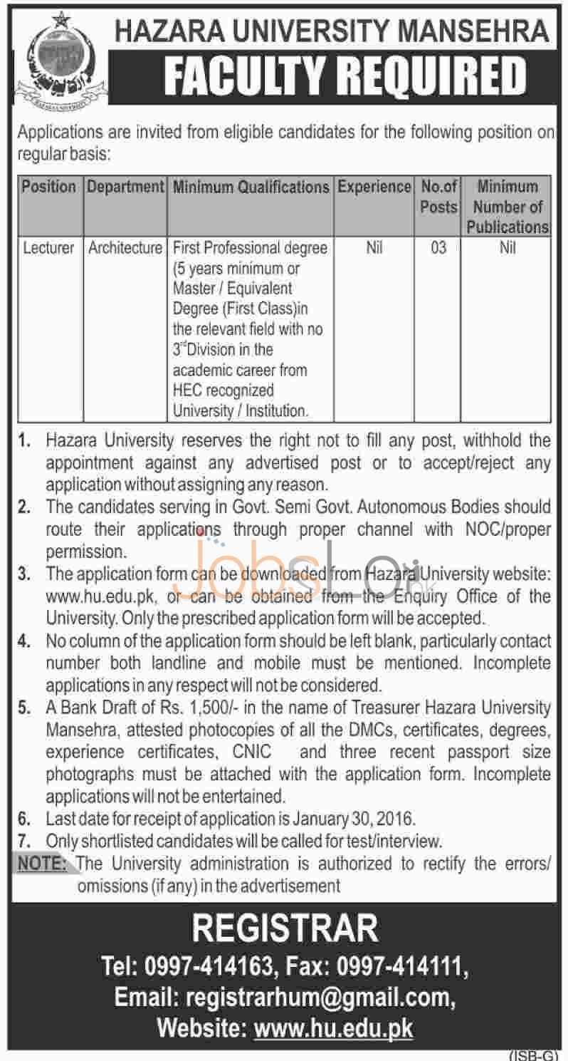 Jobs in Hazara University for Lecturer 2016