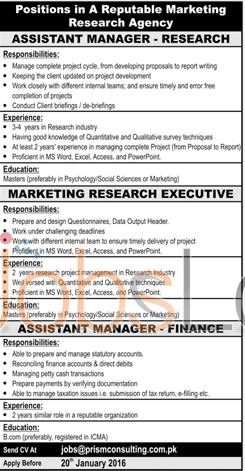 Marketing Research Agency Jobs 17th January 2016