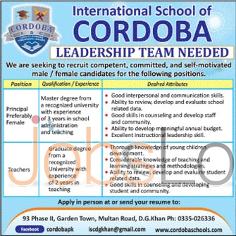 Principal and Teachers 2016 Job in International Cordoba School