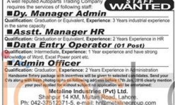 Auto Parts Trading Company Jobs 13th January 2016 Latest Advertisement