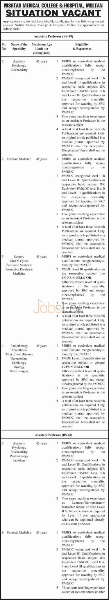 Nishtar Medical College and Hospital Multan Job Opportunities