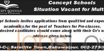 Multan Concept Schools Job of Teachers for Pre-Classes 16th January 2016