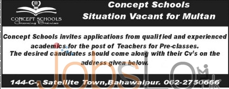 Recruitment Offers in Multan Concept Schools for Teachers Latest Advertisement