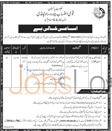 National Accountability Bureau Jobs in Rawalpindi 24th January 2016