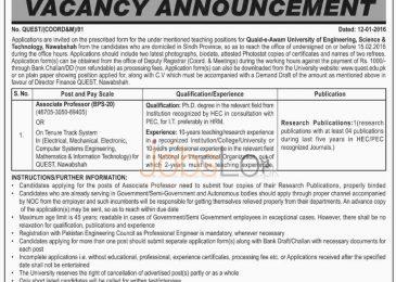 Quaid-e- Awam University of Engineering, Science and Technology Nawabshah Job for Associate Professor