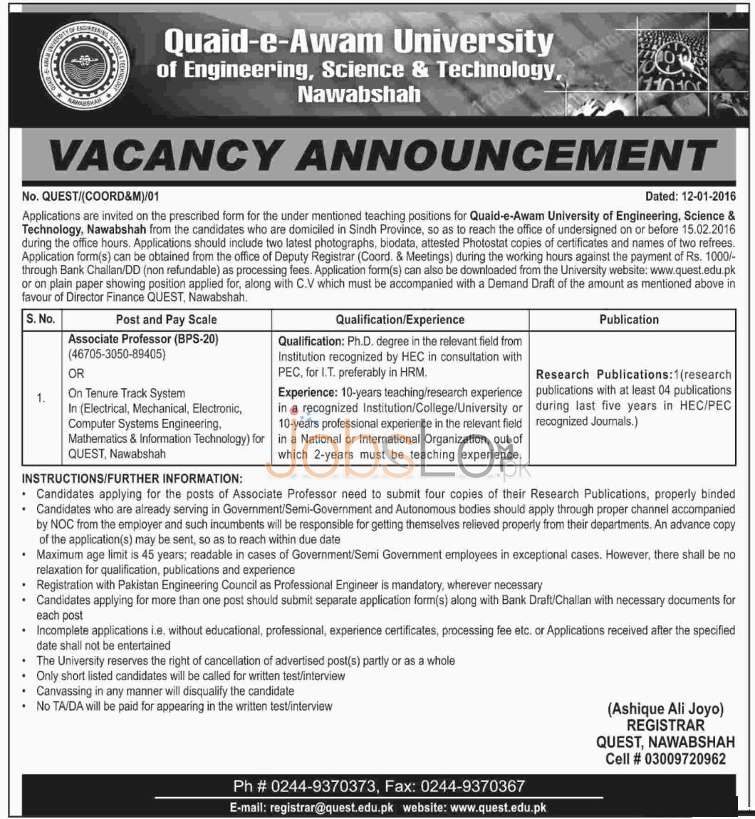 Quaid-e- Awam University of Engineering, Science and Technology Nawabshah Job for Associate Professor