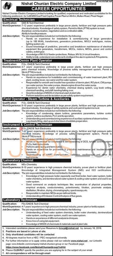 Nishat Chunian Electric Company 2016 Job