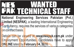 Techincal Staff Required in National Engineering Services Pakistan Pvt Limited 2016