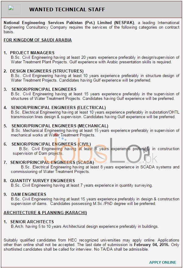 Job Opportunities in NESPAK 2016 Saudi Arabia