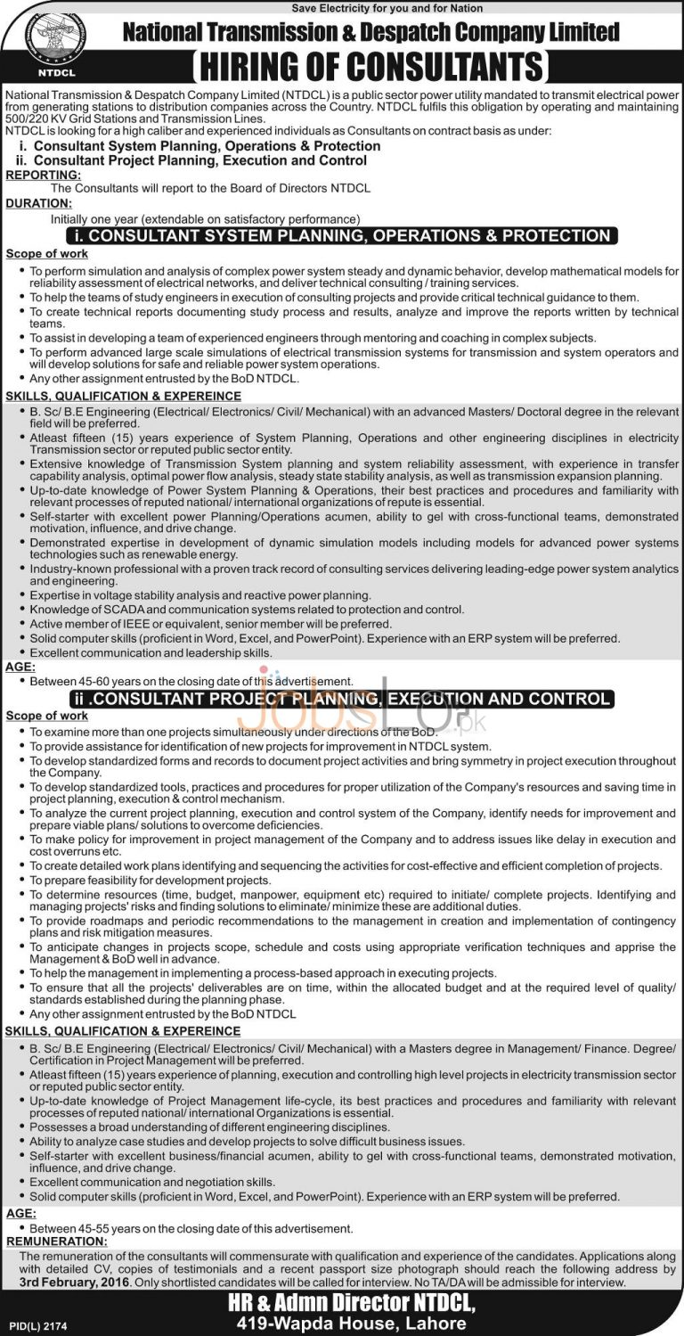 National Transmission &Dispatch Company Limited Jobs in Lahore 2016 for Consultants