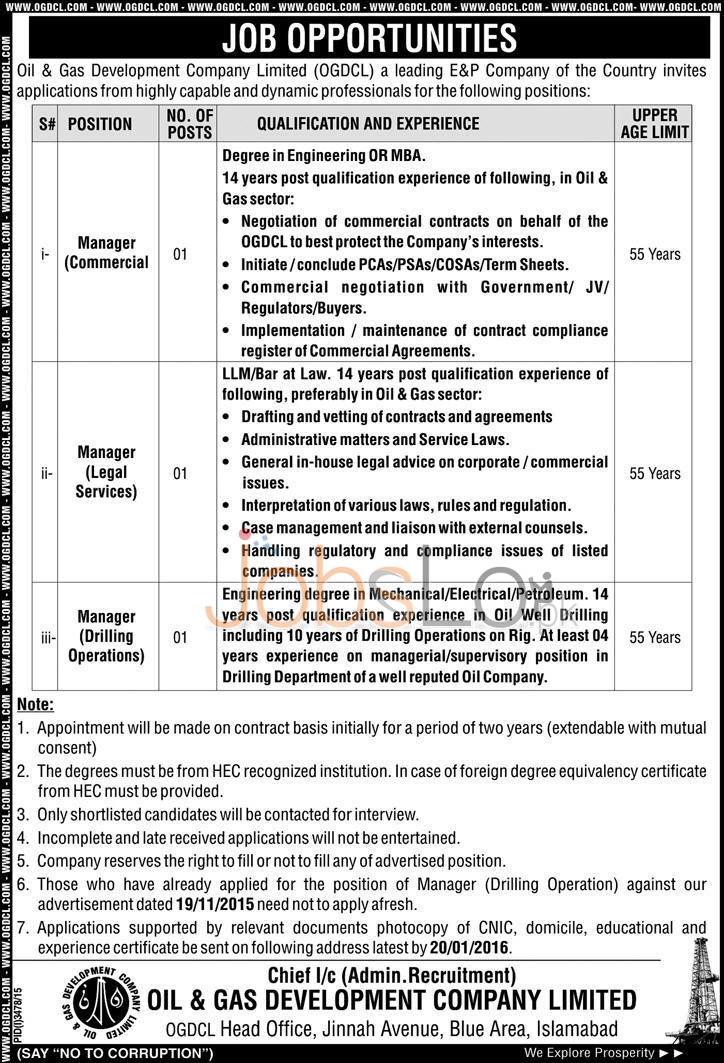 OGDCL Jobs January 2016 Latest Career Opportunities