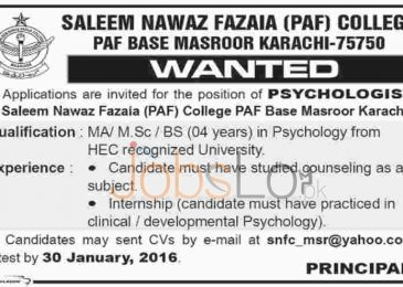 Saleem Nawaz Fazaia PAF College Jobs in Karachi for Psychologist 2016