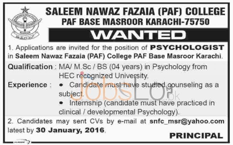 Saleem Nawaz Fazaia PAF College Jobs in Karachi for Psychologist 2016