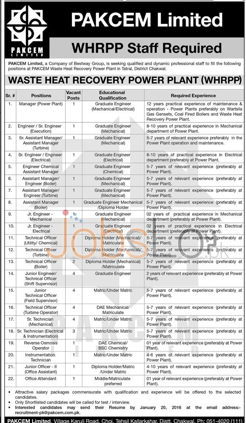 Jobs in Chkwal PAKCEM Limited 2016