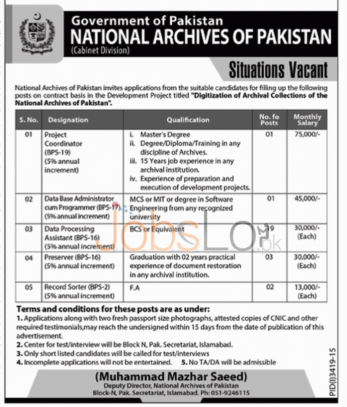 Recruitment Offers in National Archives of Pakistan Govt of Pakistan 2016