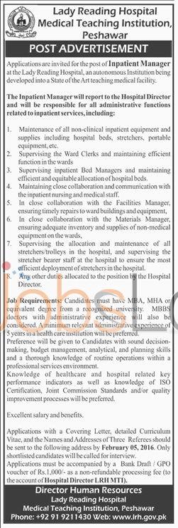 Lady Reading Hospital Medical Teaching Institution 2016 Jobs in Peshawar