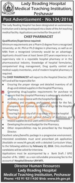 Lady Reading Hospital Peshawar 2016 Career Offers